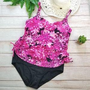 Alia 16D Pink Black 2 Piece Tankini Swimsuit